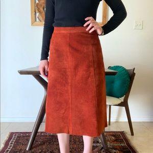 Dresses & Skirts - Vintage Orange Genuine Suede Skirt